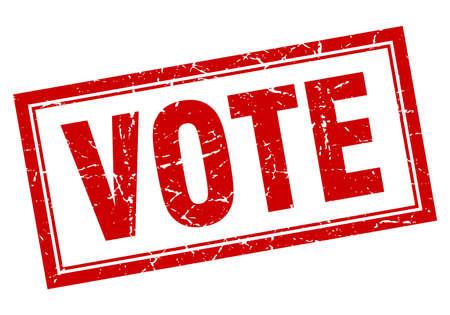 Illustration pour vote red square grunge stamp on white - image libre de droit