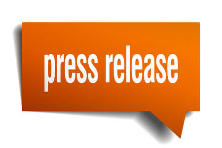 Illustration for Press release orange 3d square isolated speech bubble - Royalty Free Image