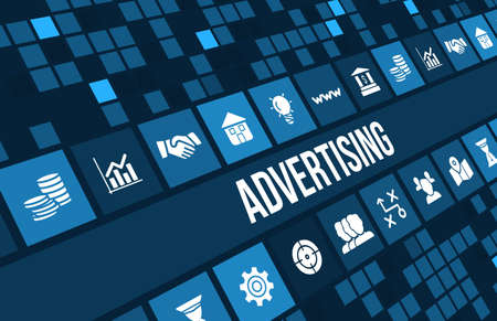 Foto de Advertising concept image with business icons and copyspace. Excellent for online advertisment, marketing and any kind of promotion concepts. - Imagen libre de derechos