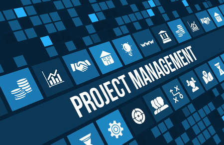 Foto de Project Management concept image with business icons and copyspace. - Imagen libre de derechos
