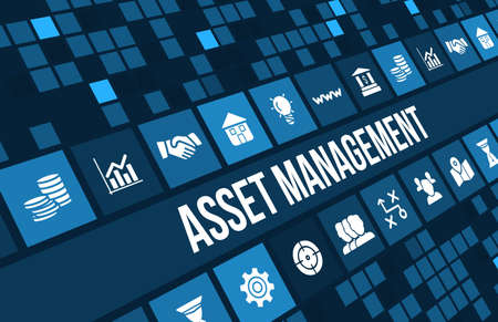 Foto de Asset management concept image with business icons and copyspace. - Imagen libre de derechos