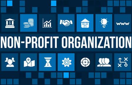 Photo pour Non-profit organization  concept image with business icons and copyspace. - image libre de droit
