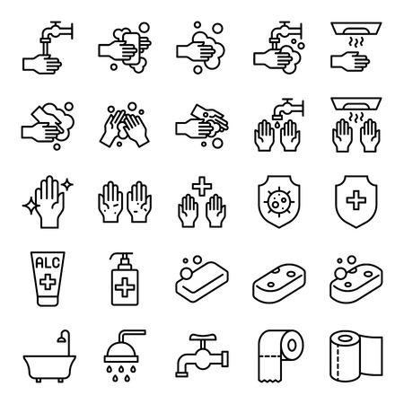 Illustration pour Bathroom Hygiene vector set, line design icon - image libre de droit