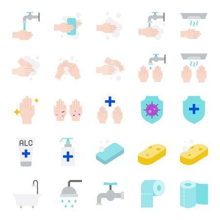 Ilustración de Bathroom Hygiene vector set, flat design icon - Imagen libre de derechos