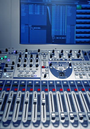 studio music mixer with comuter screen