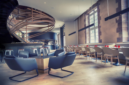 Photo for designed restaurant in antique old building - Royalty Free Image