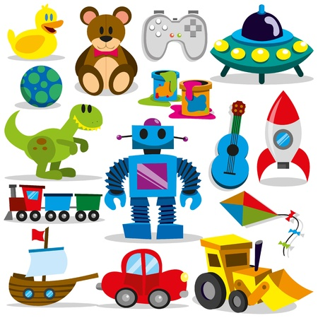 Illustration pour A set of colorful cartoon toys - image libre de droit
