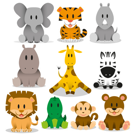 Illustration pour A set of cute vector wild animals - image libre de droit