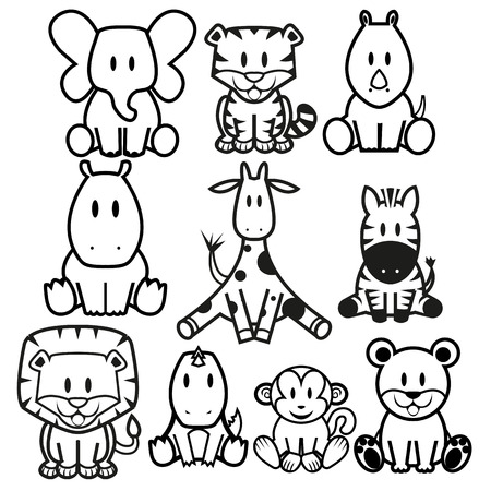 Illustration for Vector Cute Wild Animals set - Royalty Free Image