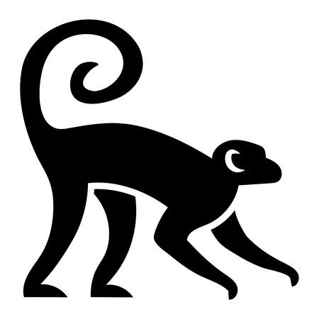 Illustration pour Vector Stylized Monkey Illustration Isolated On White Background - image libre de droit