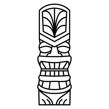 Ilustración de Vector Cartoon Tiki Idol Isolated On White Background - Imagen libre de derechos