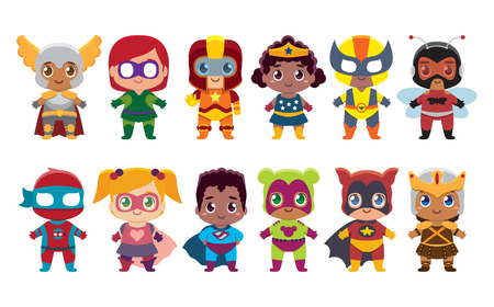 Illustration pour Cute kawaii set superhero colorful isolated - image libre de droit