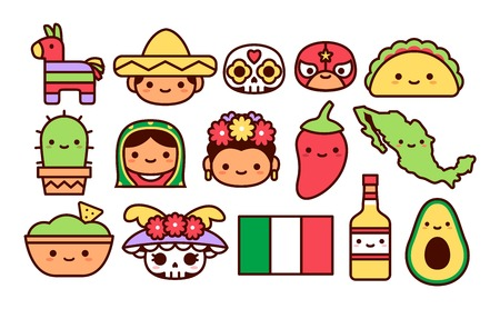 Illustration pour Vector Set Of Mexican Cartoon Icons Isolated - image libre de droit
