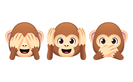 Ilustración de Vector Emoji Monkeys Set Isolated On White Background - Imagen libre de derechos