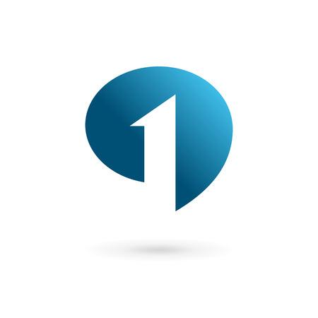 Ilustración de Number one 1 speech bubble logo icon design template elements - Imagen libre de derechos
