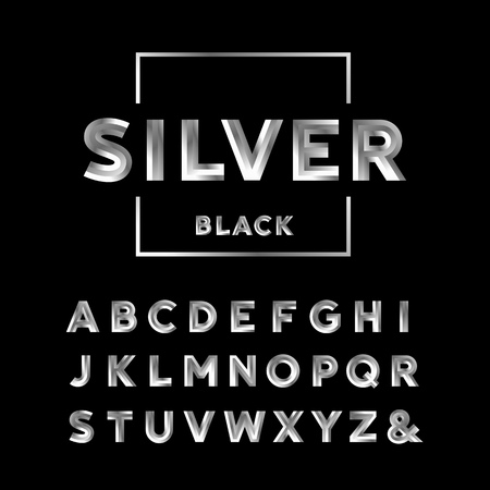 Illustration for Silver font. Vector alphabet with chrome effect letters. - Royalty Free Image