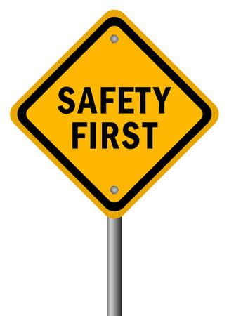 Illustration pour Vector safety first road sign - image libre de droit