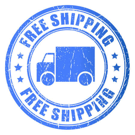 Free shipping, stamp illustration