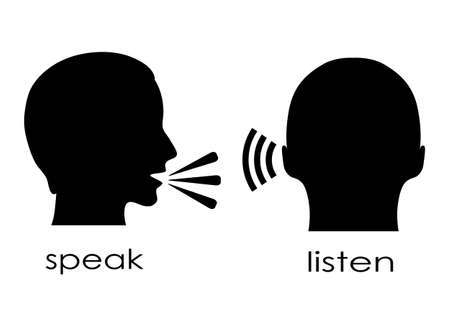 Illustration pour Speak and listen symbol - image libre de droit