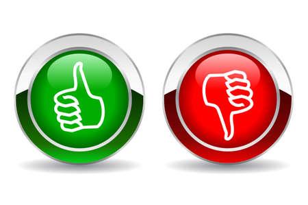 Illustration pour Thumb up and down button - image libre de droit