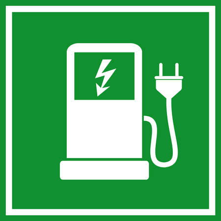 Foto per Electric car charging station sign - Immagine Royalty Free
