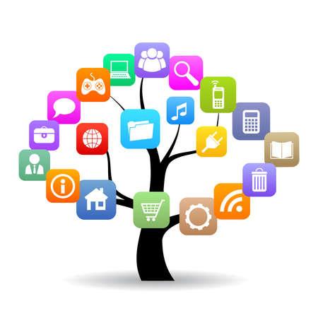 Ilustración de Social media tree - Imagen libre de derechos