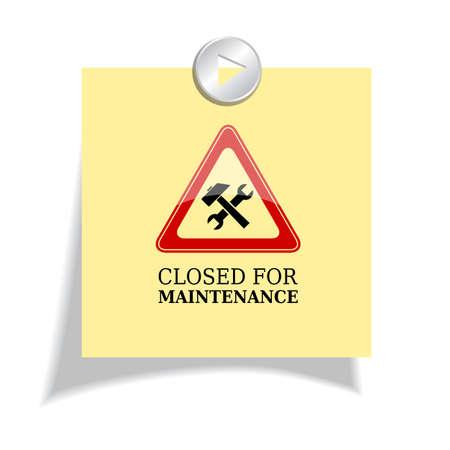 Illustration pour Closed for maintenance sign - image libre de droit