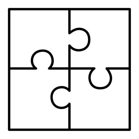 Illustration pour Four piece puzzle diagram - image libre de droit
