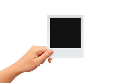 Photo pour Hand with blank photo card, add your image - image libre de droit