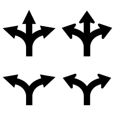 Illustration pour Two and three way arrows set - image libre de droit