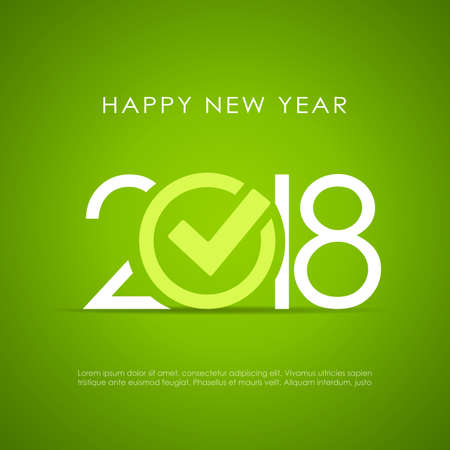 New Year 2018 poster design on green background, vector illustration.