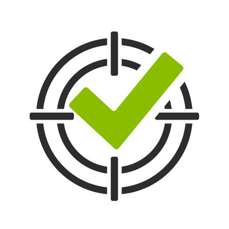 Illustration pour Green tick in shooting sight vector icon - image libre de droit