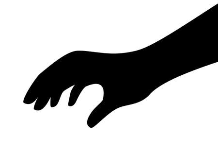 Illustration pour Touching hand vector silhouette - image libre de droit