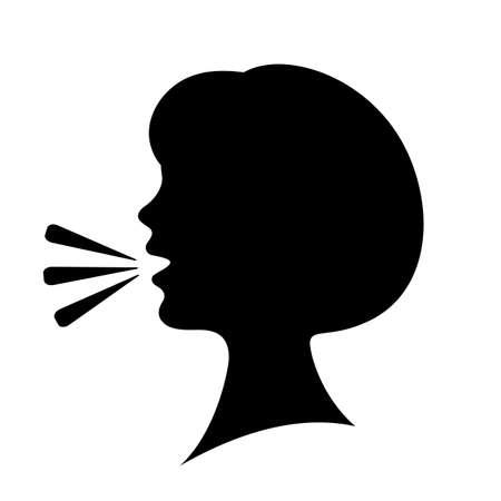 Illustration pour Speaking woman silhouette icon - image libre de droit