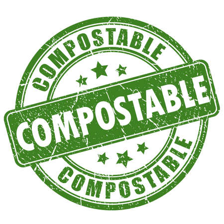Illustration for Compostable green round stamp - Royalty Free Image
