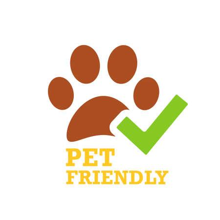 Green tick and pet friendly emblem