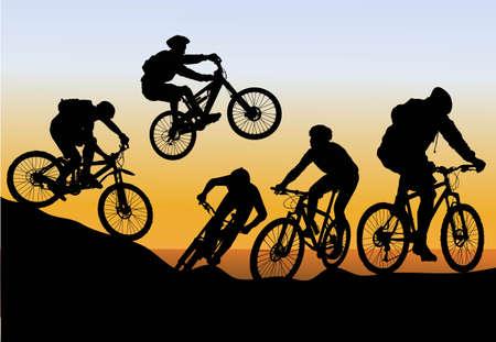 Illustration pour  conquer mountain biking - image libre de droit