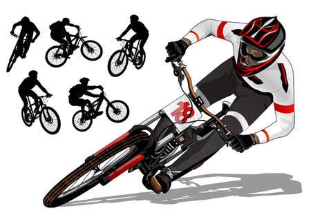 Illustration pour mountain bike active  - image libre de droit