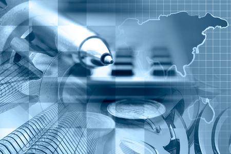Foto de Financial background in blues with money, calculator, buildings and pen. - Imagen libre de derechos