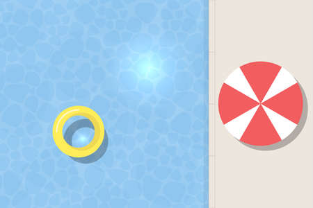 Ilustración de Top view of swimming pool with floating yellow balloon.Summer rest illustration. - Imagen libre de derechos