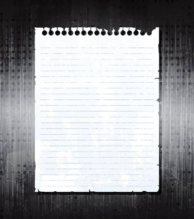 Old notebook paper on grunge metal background. eps10 vector