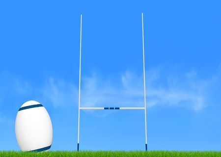 rugby goal post and ball on green-the image on back ground is a my photo