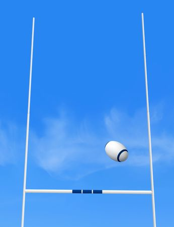 rugby goal post and ball against blue sky - the image on back ground is a my photo