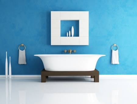 retro bathtub in a modern blue bathroom - rendering