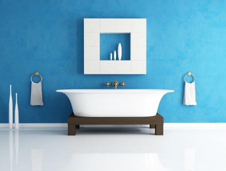 retro bathtub in a modern blue bathroom - rendering