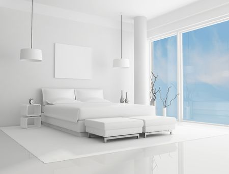 pure white bedroom with blue sky on background - rendering