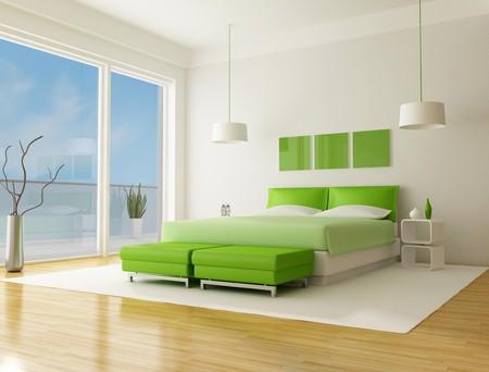 green bedroom of a beach villa