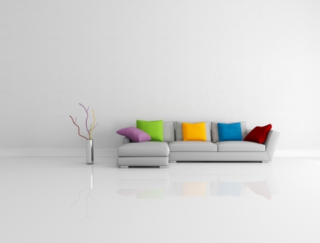 gray modern couch with colored pillow in a bright empty living room - rendering