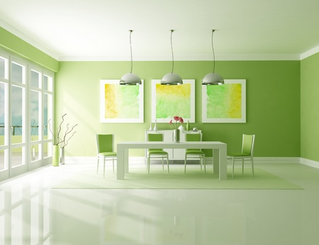 Minimalist green dining room - the art picture on wall are my composition