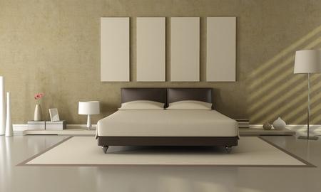elegant modern brown and beige bedroom